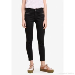 Cotton On Deluxe Moto Mid Rise Black Jeans 10
